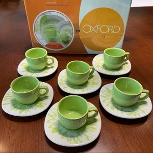 Espresso Coffee Cups & Saucers Light Green Color